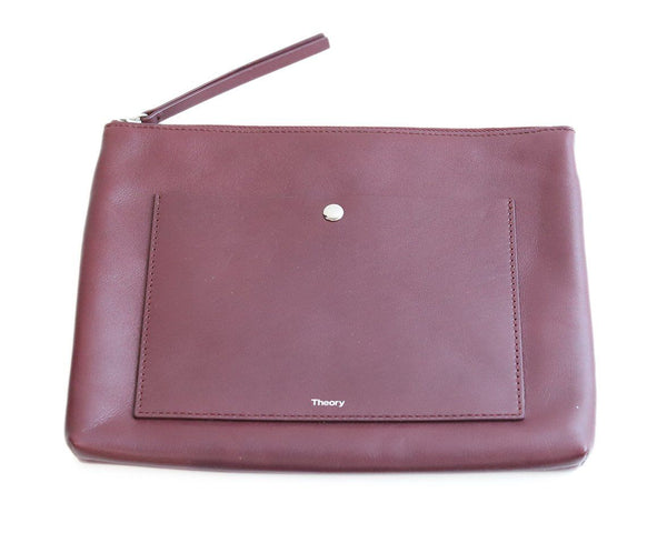 Theory Burgundy Leather Clutch 3