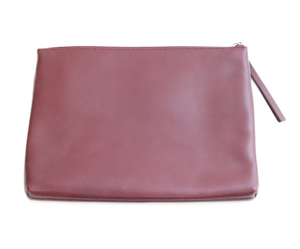 Theory Burgundy Leather Clutch 1