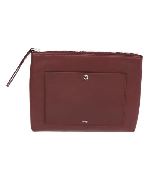 Theory Burgundy Leather Clutch
