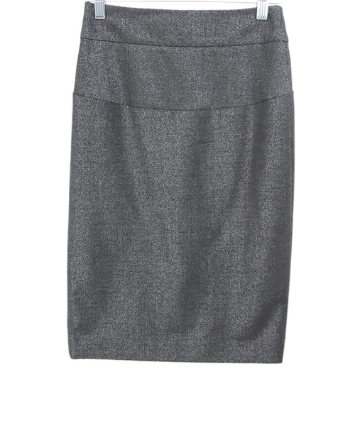 Theory Grey Metallic Wool Silver Polyester Skirt 1
