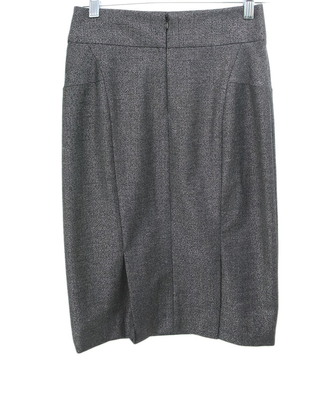 Theory Grey Metallic Wool Silver Polyester Skirt 2