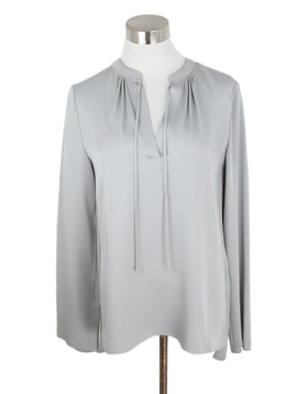 Theory Grey Silk Longsleeve Blouse 1