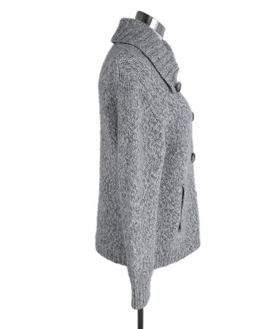 Theory Grey White Wool Cashmere Cardigan Sweater 1