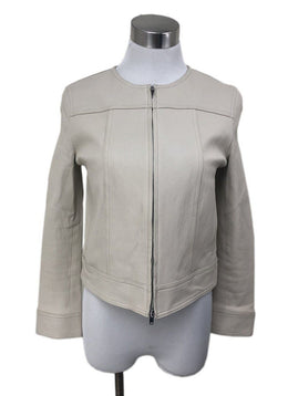 Jacket Theory Size 2 Neutral Ivory Leather Zipper Outerwear