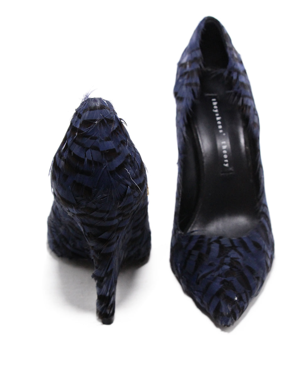 Theyskens Blue Black Feathers Wedges 3