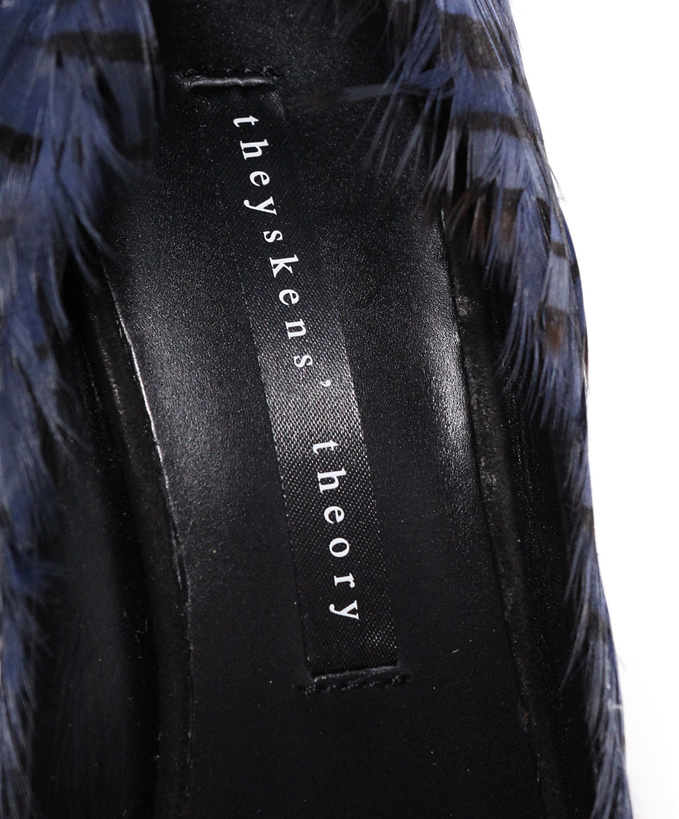 Theyskens Blue Black Feathers Wedges 7