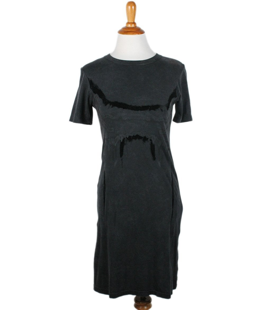 Theyskens Charcoal Cotton Velvet Trim Dress Sz 2 - Michael's Consignment NYC  - 1
