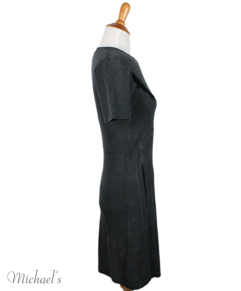 Theyskens Charcoal Cotton Velvet Trim Dress Sz 2 - Michael's Consignment NYC  - 2