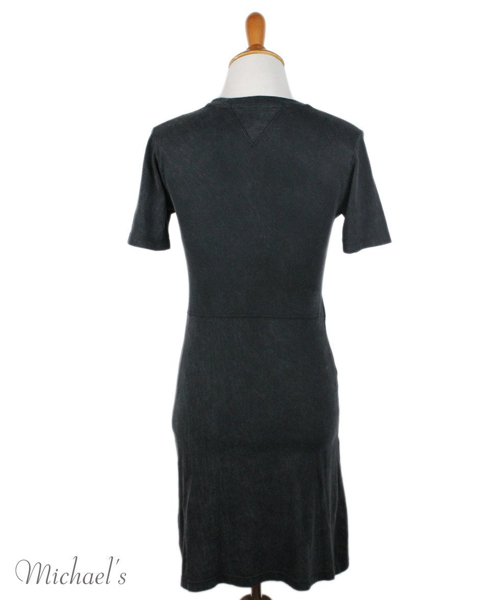 Theyskens Charcoal Cotton Velvet Trim Dress Sz 2 - Michael's Consignment NYC  - 3