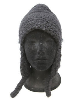 Thomas Wylde Black Wool Cashmere Beanie with Rhinestone Detail 1