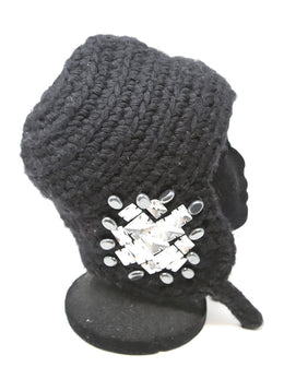 Thomas Wylde Black Wool Cashmere Beanie with Rhinestone Detail 2