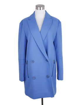 Tibi Blue Wool Peacoat Coat 1