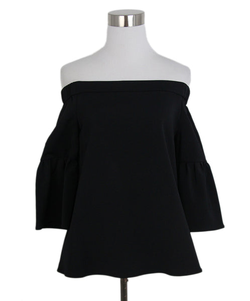 Tibi black cold shoulder top 1