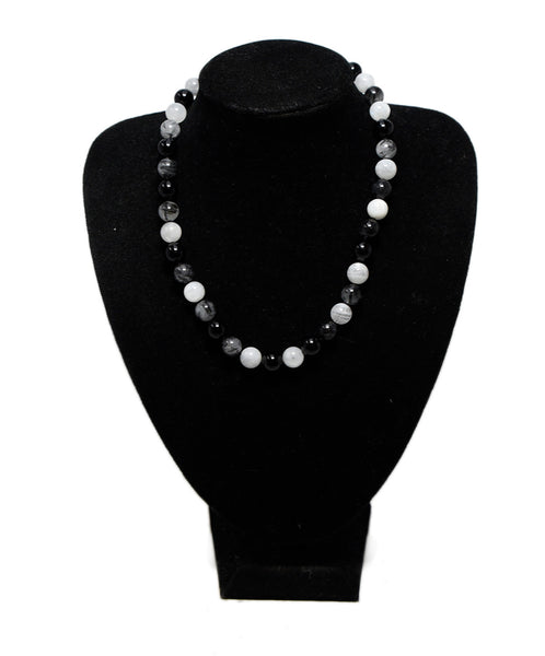 Tiffany & Co. Black Onyx White Quartz Sterling Silver Necklace 1