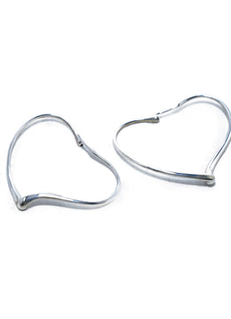 Tiffany & Co. Sterling Silver Heart Hoops Jewelry Earrings 3