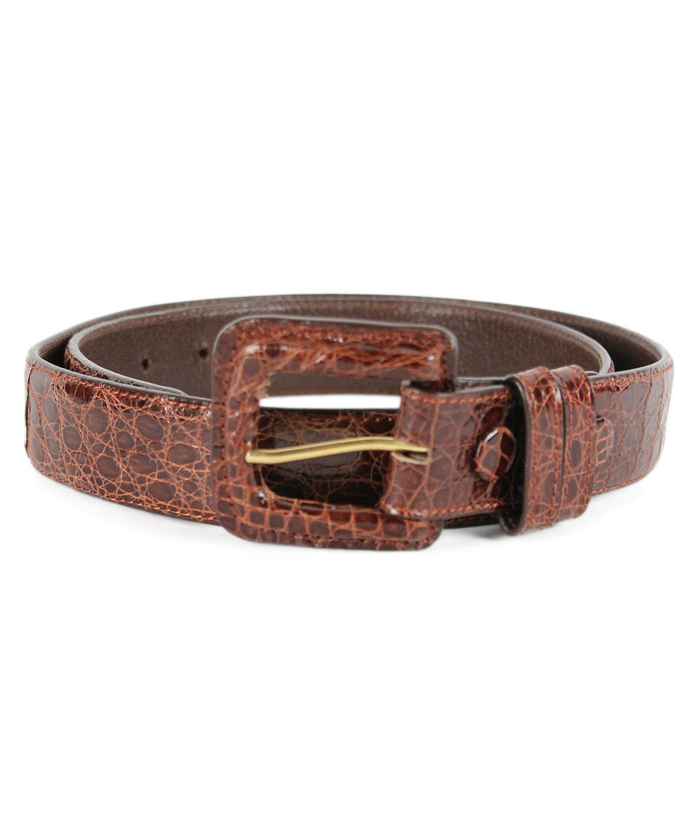 Tobacco Crocodile Belt - Michael's Consignment NYC  - 1