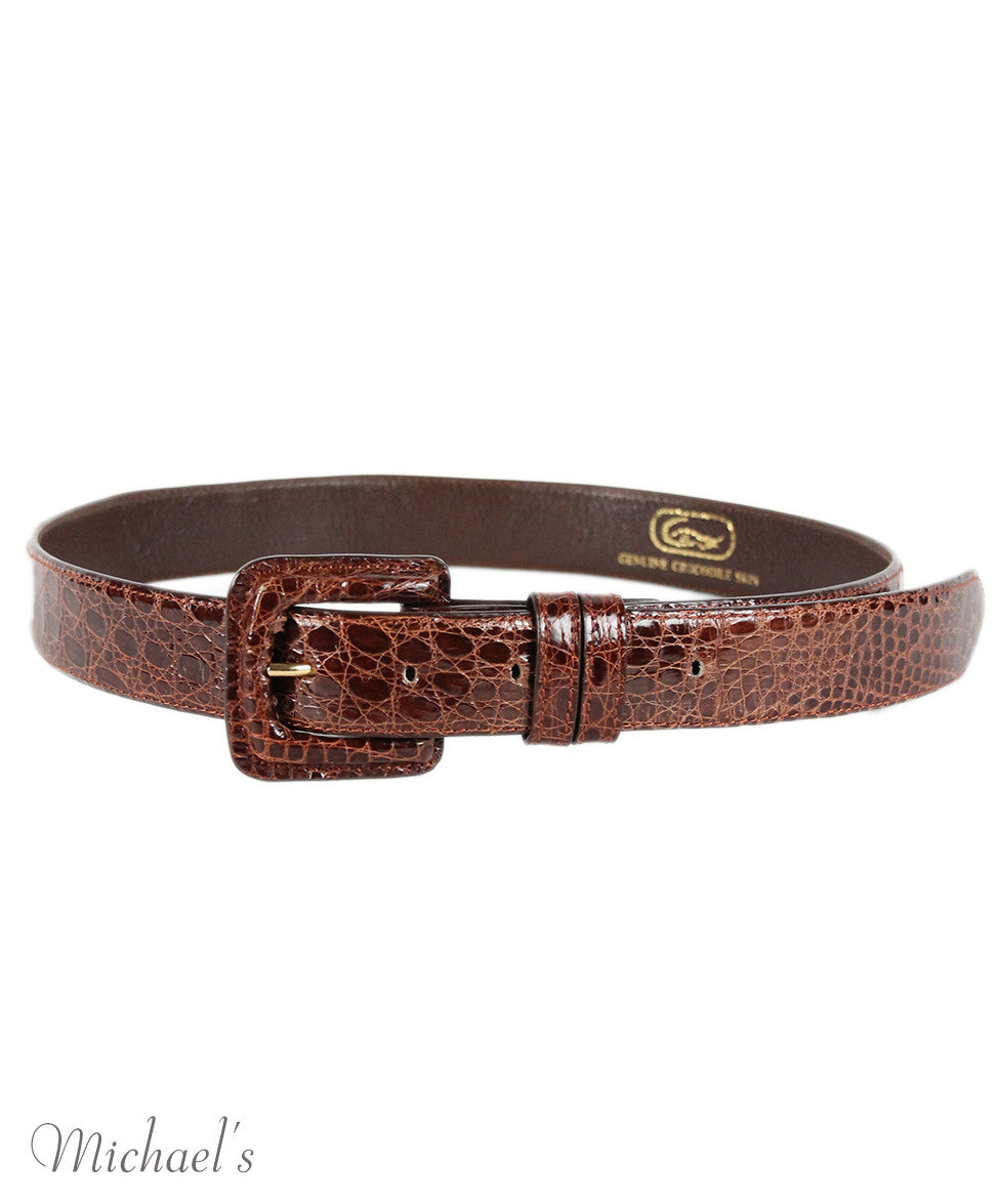 Tobacco Crocodile Belt - Michael's Consignment NYC  - 2