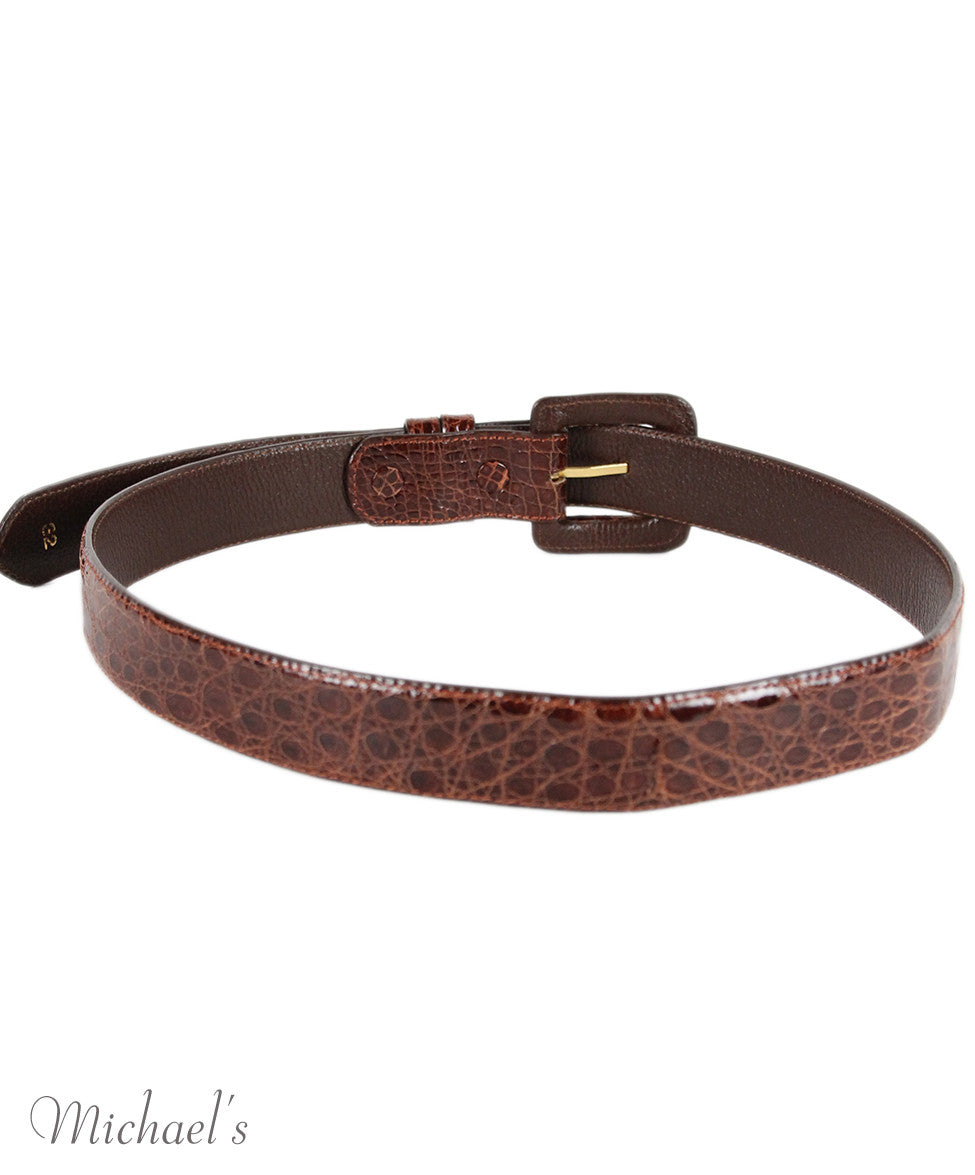 Tobacco Crocodile Belt - Michael's Consignment NYC  - 3
