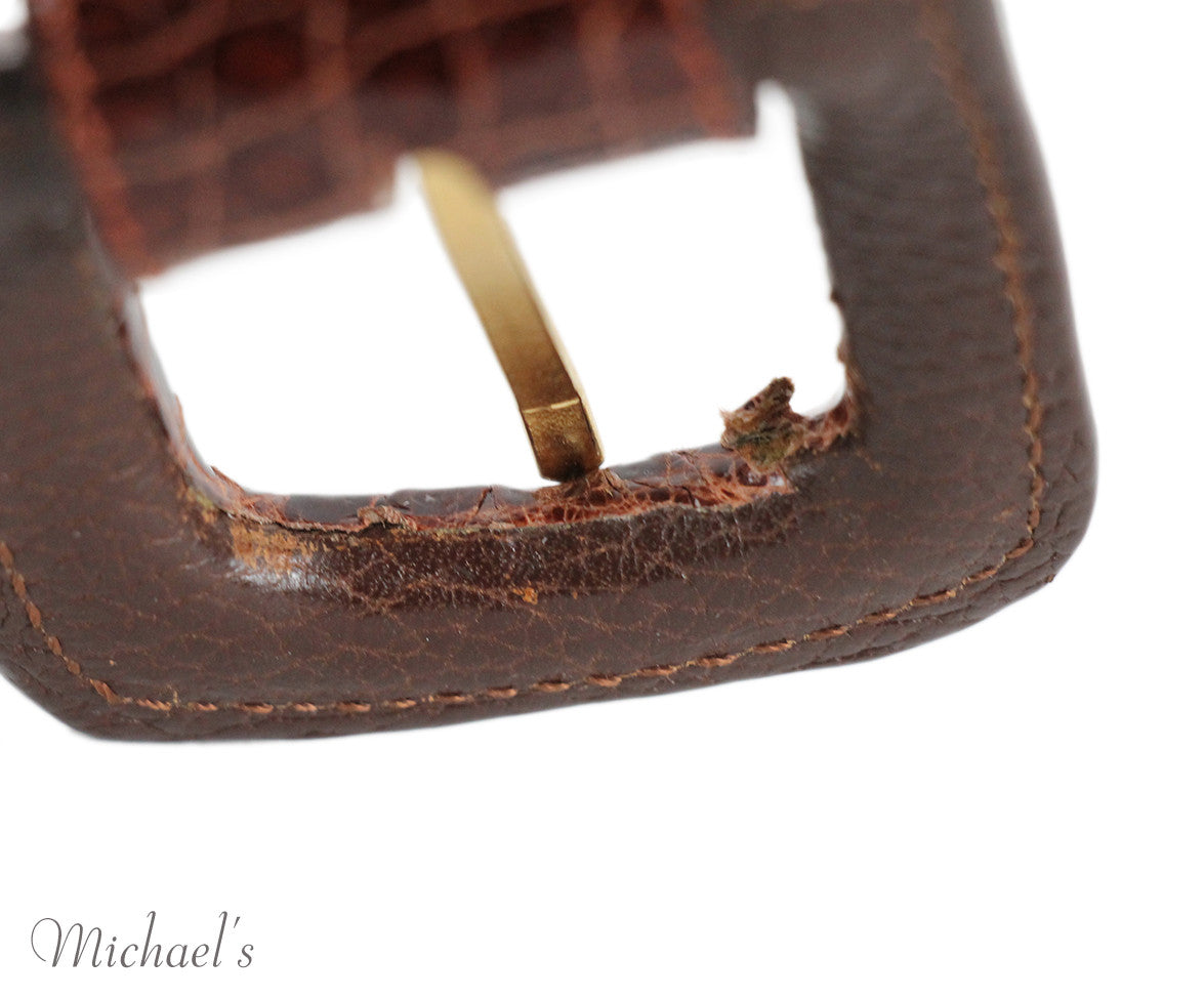 Tobacco Crocodile Belt - Michael's Consignment NYC  - 5