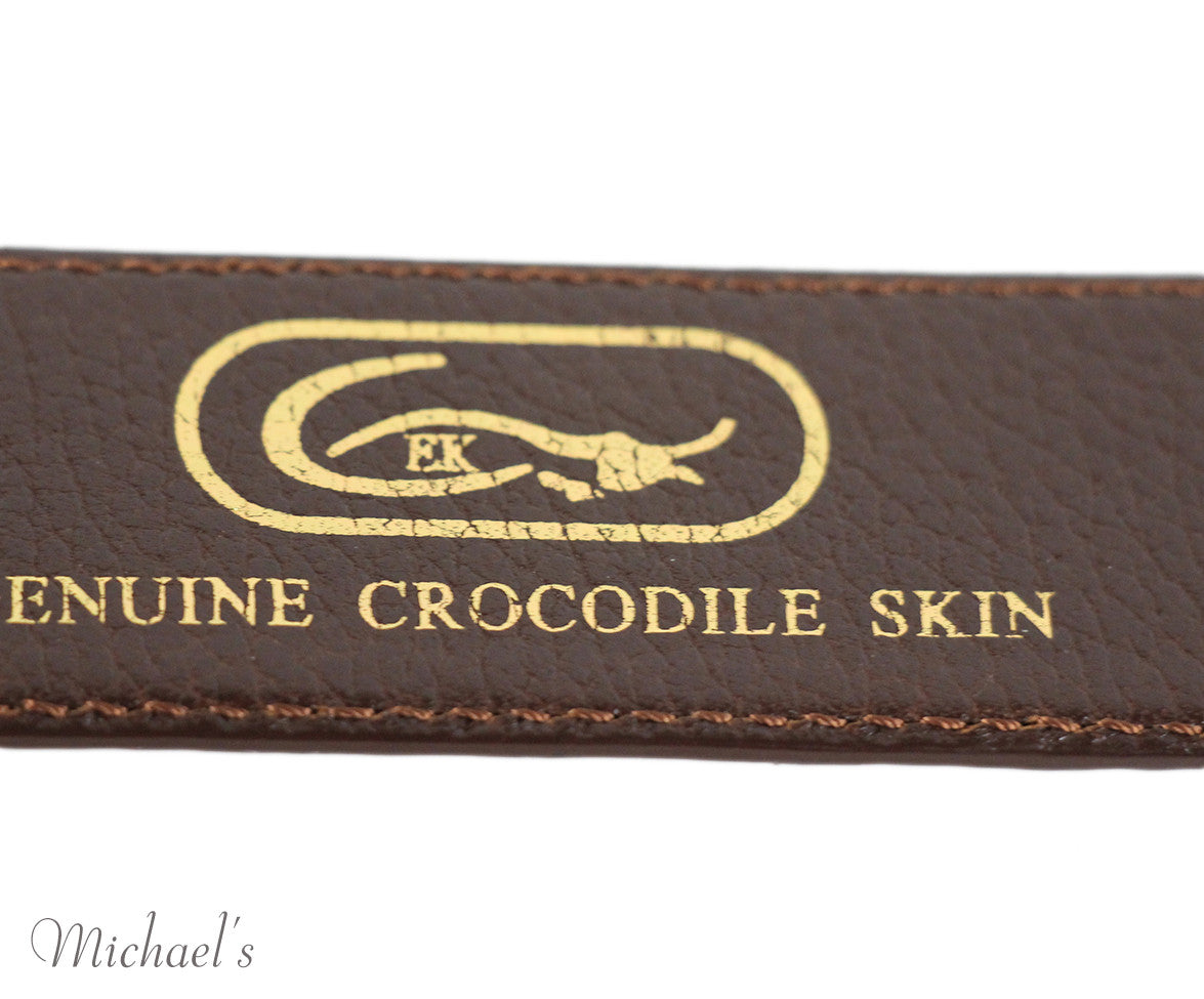 Tobacco Crocodile Belt - Michael's Consignment NYC  - 6
