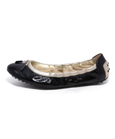 Tod's Black Gold Patent Leather Flats 1