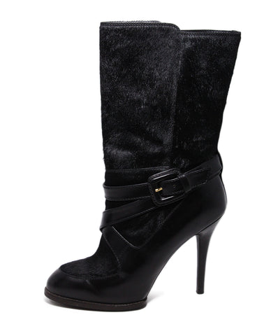 Tod's Black Leather Fur Boots 1