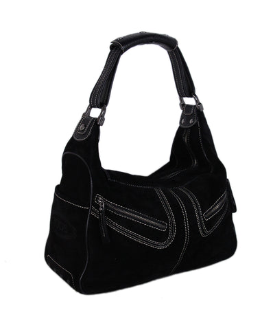 Tod's Black Suede Shoulder Bag 1