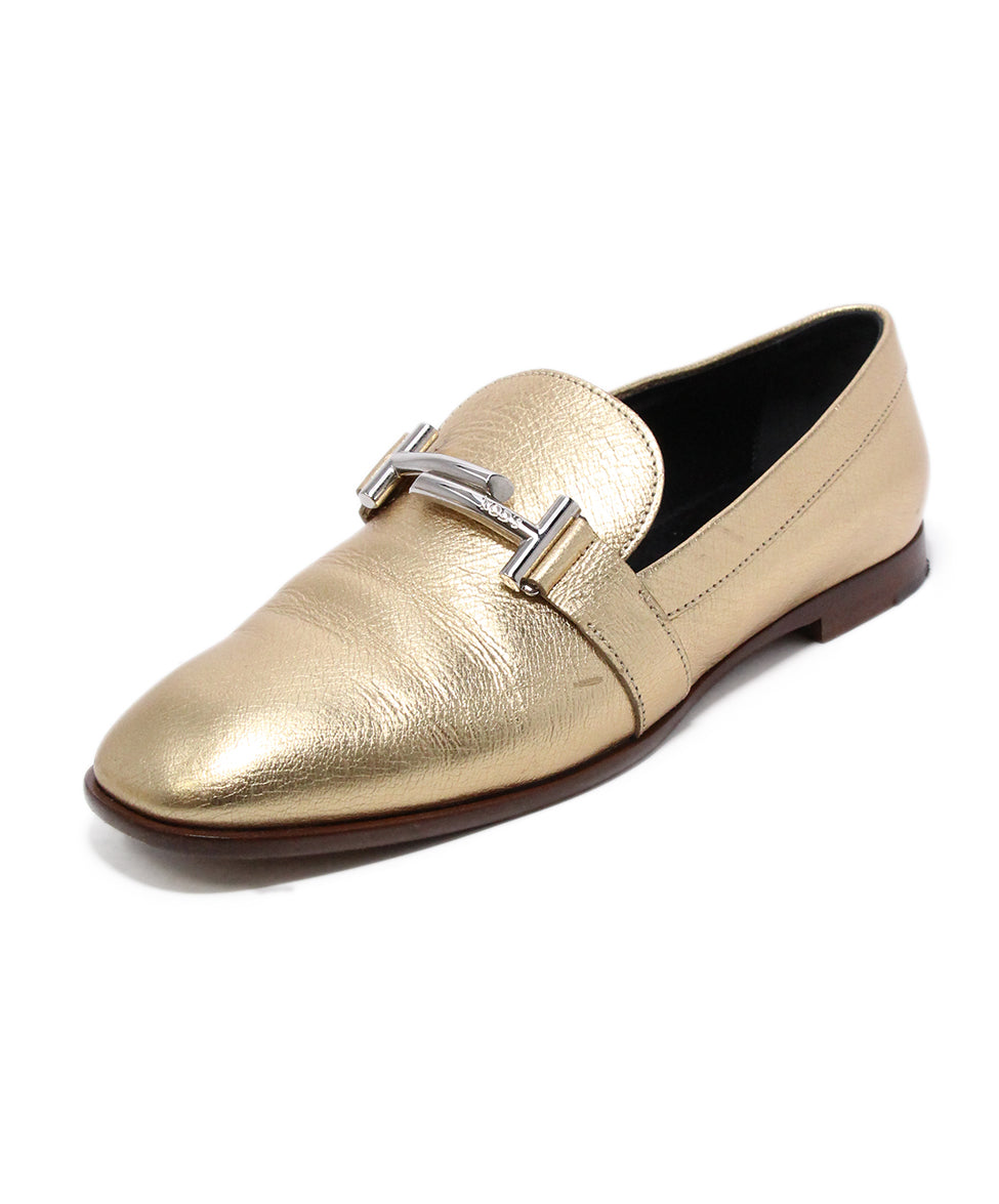 Tod's Metallic Gold Leather Flts 1
