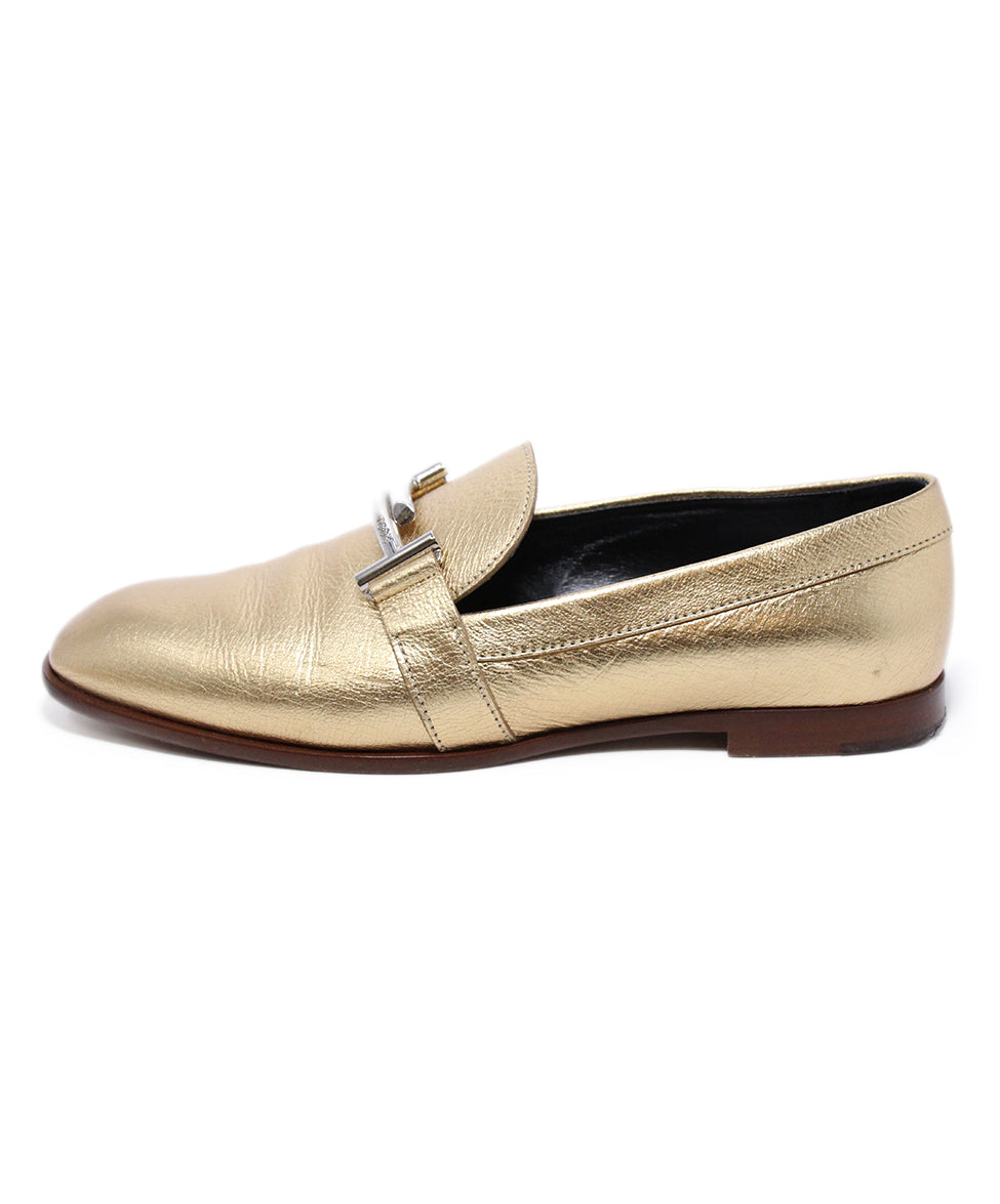 Tod's Metallic Gold Leather Flts 2