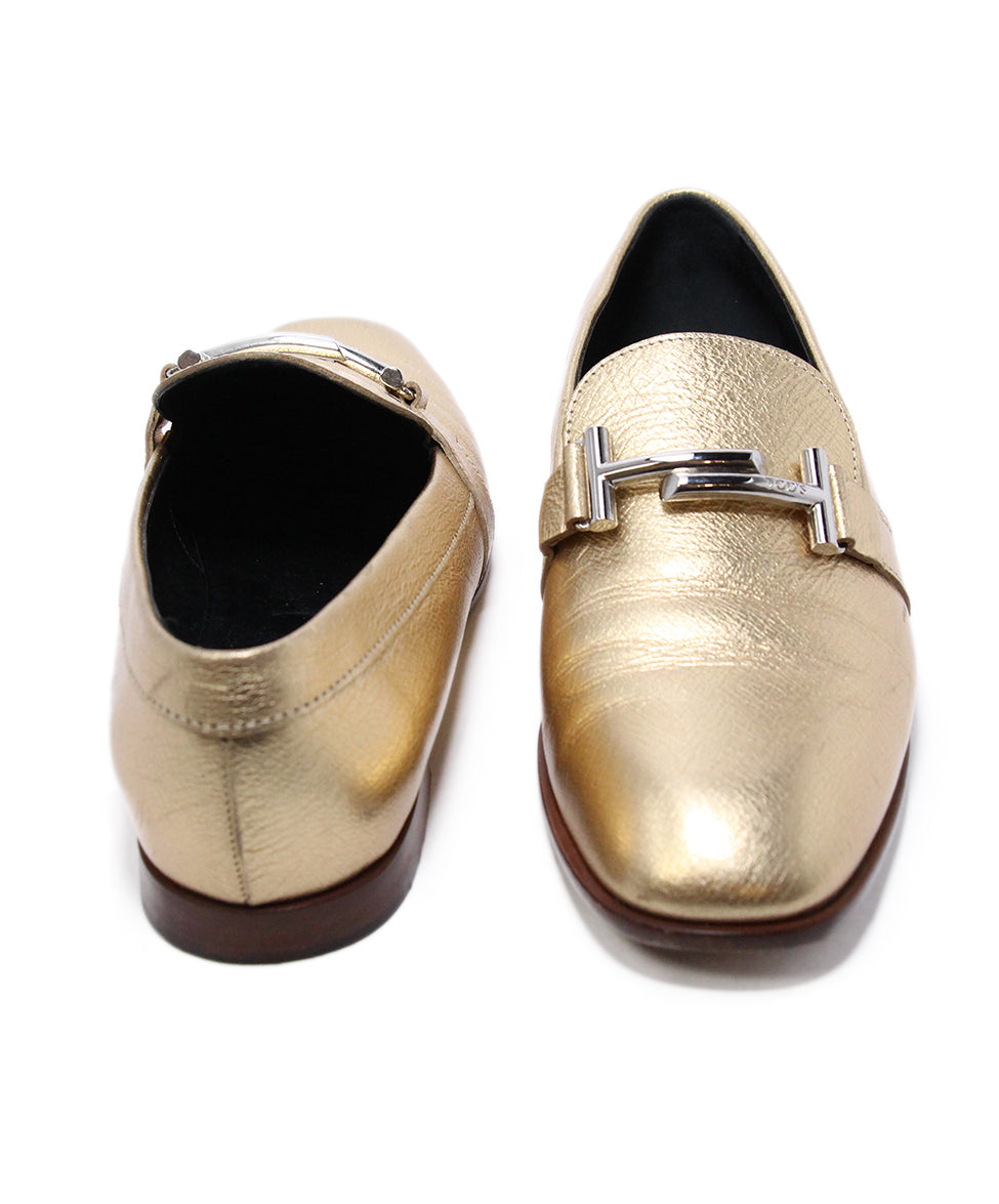 Tod's Metallic Gold Leather Flts 3