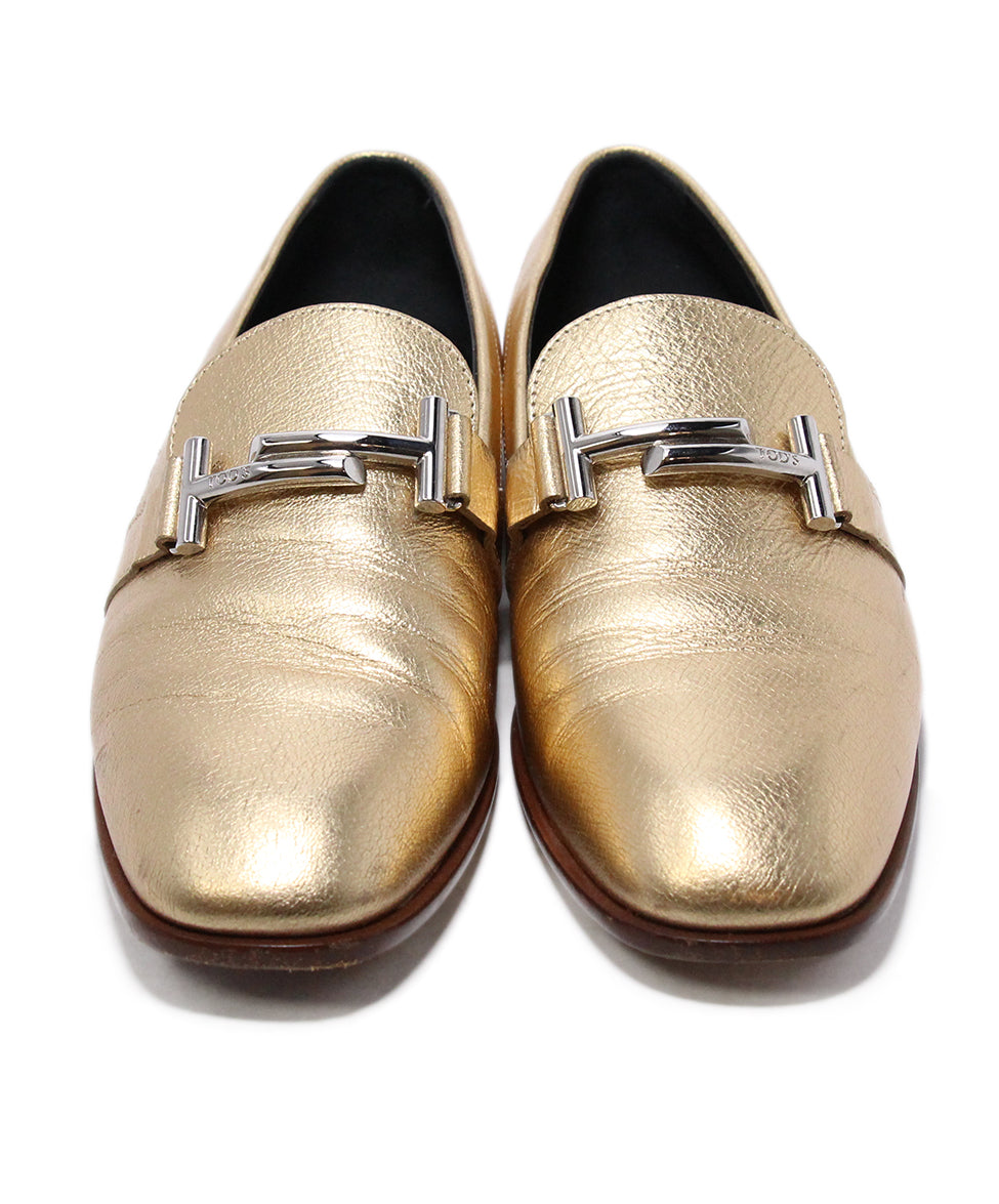 Tod's Metallic Gold Leather Flts 4