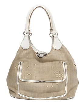 Tod's White Leather Canvas W/Dust Cover Handbag