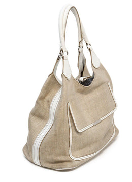 Tod's White Leather Canvas W/Dust Cover Handbag 1