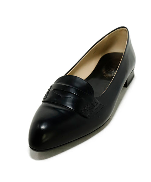 Tod's Black Leather Loafers Flats 1