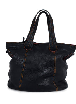 Tod's Black Leather Tobacco Stitching Tote Handbag 1