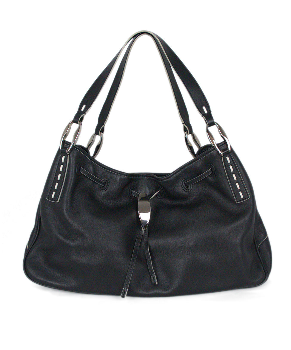 Tod's Black Leather Bag Shoulder Bag Handbag 1
