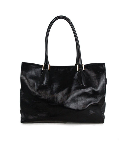 Tod's black patent leather suede trim tote 1