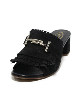 Tod's black suede gold hardware sandals 1