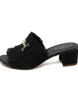 Tod's black suede gold hardware sandals 2