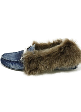 Tod's Blue Denim Fur Trim Loafers 2