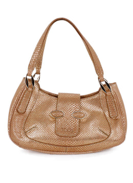 Tod's Gold Tan Lizard Print Leather Satchel  Handbag 1