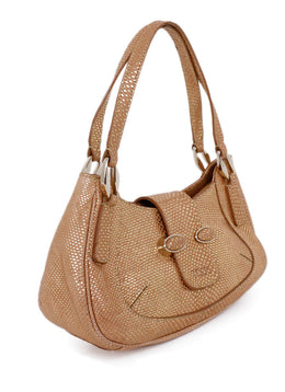 Tod's Gold Tan Lizard Print Leather Satchel  Handbag 2
