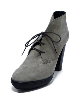 Tod's Grey Taupe Suede Lace Up Booties 1