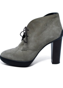 Tod's Grey Taupe Suede Lace Up Booties 2