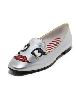 Tod's metallic silver leather red blue glitter flats 1