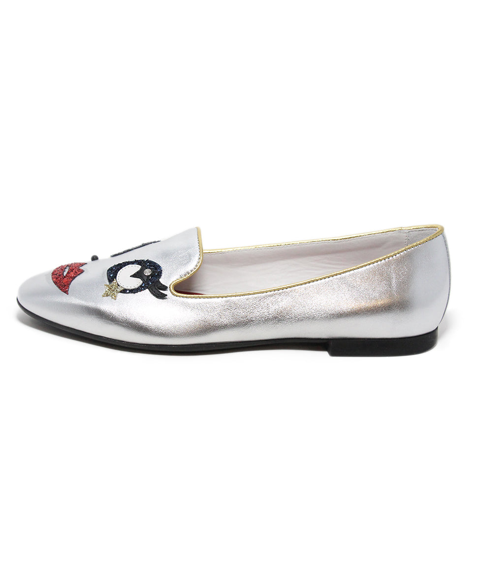 Tod's metallic silver leather red blue glitter flats 2