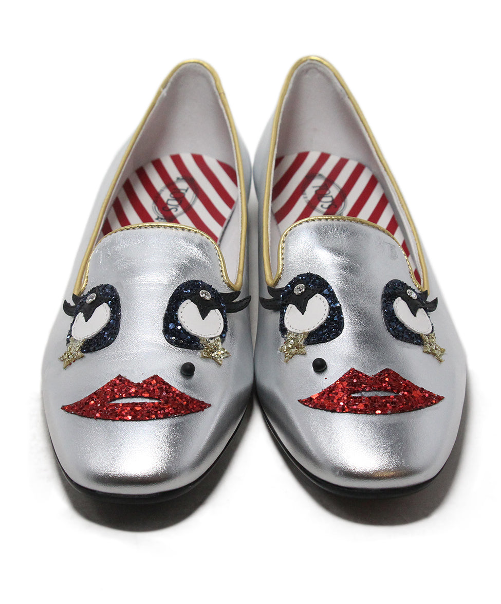 Tod's metallic silver leather red blue glitter flats 4