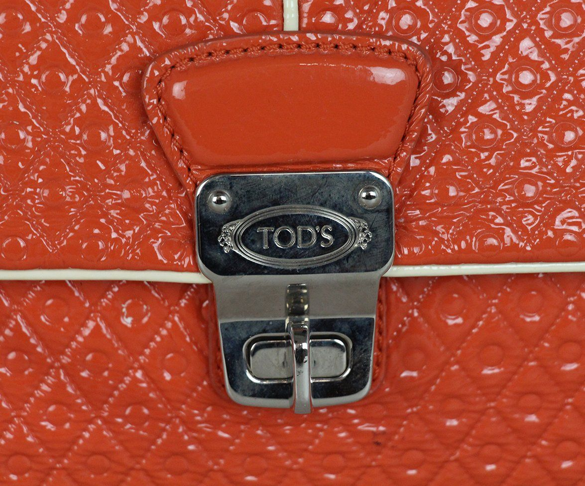 Tod's orange patent leather shoulder bag 8