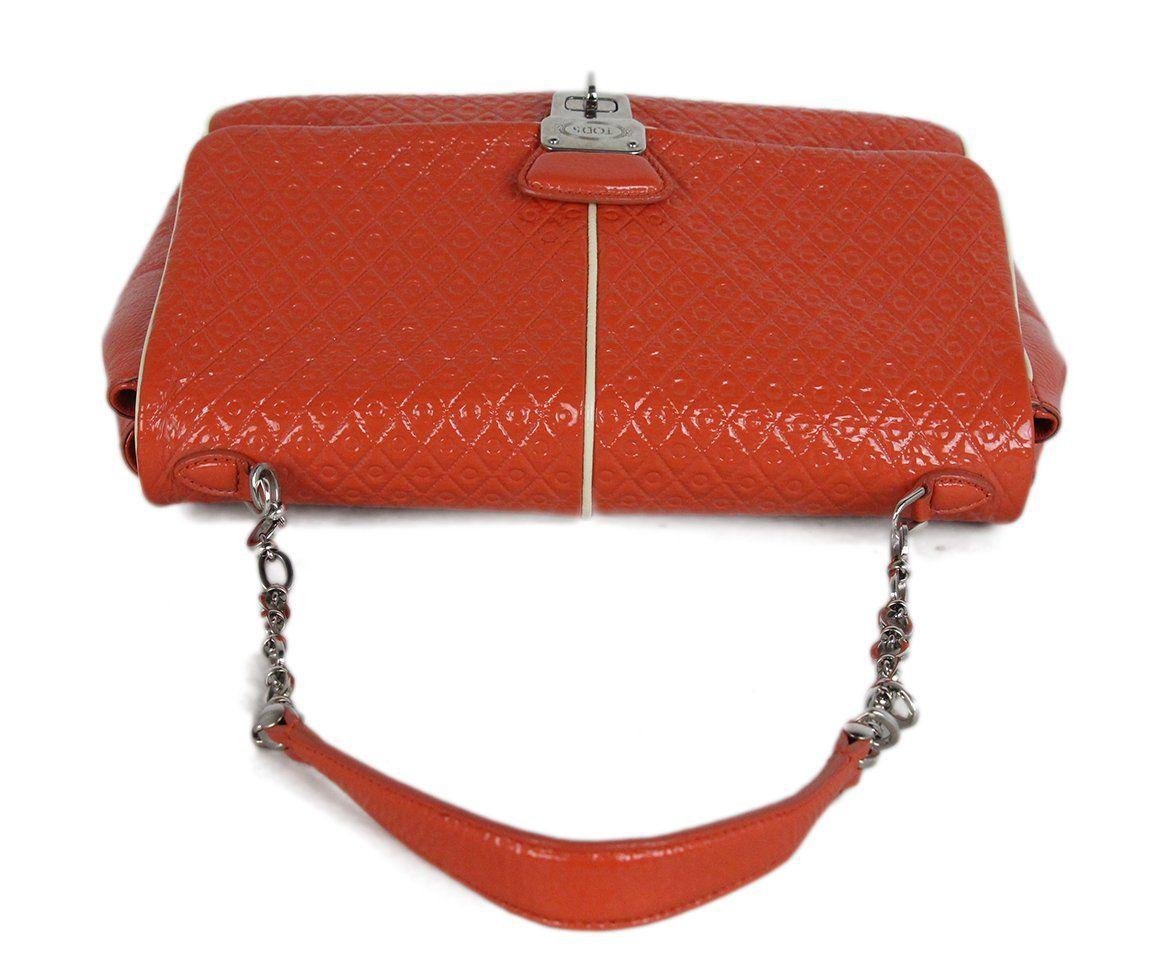 Tod's orange patent leather shoulder bag 5