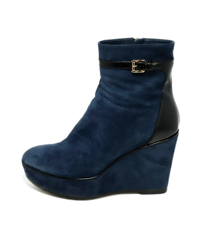 Tod's Blue Suede Booties 2